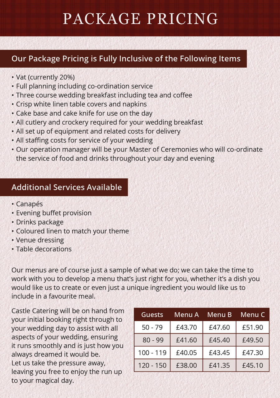 Castle Catering Brochure