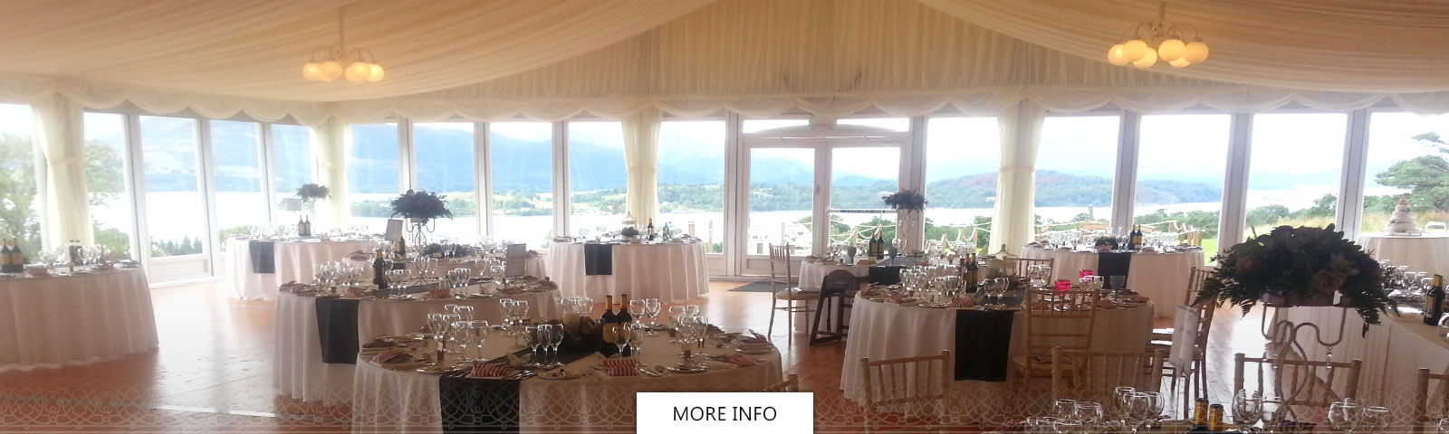 Boturich Castle dinning room dressed in white and tartan for a wedding